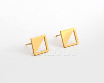 Golden Square Triangle  Stainless Steel Stud Earring Post Finding (ES002A)