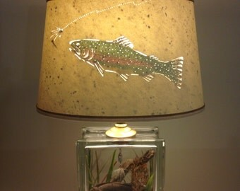 Rainbow Trout Lamp-Fishing-Gift for Man-Fish-Lamp-Camps-Lighting-Angler-Rainbow Trout-Home & Living
