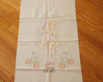 Beautiful 17x30 Embroidered Girl with Bonnet Wallhanging, Frame, Girls Room Decor Vintage Charm