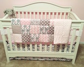 Here is my Umbrella Elephant and Bird Baby Pink and Gray 3 Piece Baby Crib Bedding Set MADE TO ORDER