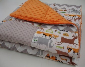 Rustic Woodland Animals Minky Patchwork Baby Blanket You Choose Size MADE TO ORDER No Batting