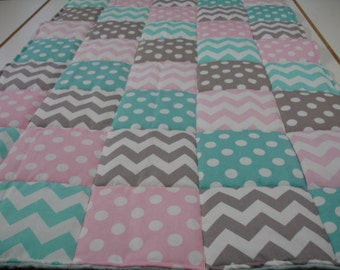 Chevrons and Dots in Baby Pink Aqua Gray Minky Blanket You Choose Size and Minky Color MADE TO ORDER No Batting