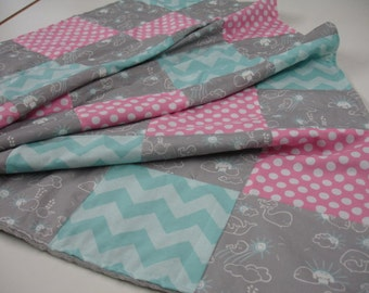 Whales You Are My Sunshine Pink Aqua Minky Patchwork Blanket You Choose Size and Minky Color MADE TO ORDER No Batting