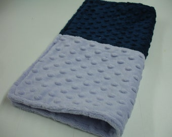 Navy and Lavender Minky Burp Cloth Receiving Blanket Double Sided 14 x 14 READY TO SHIP