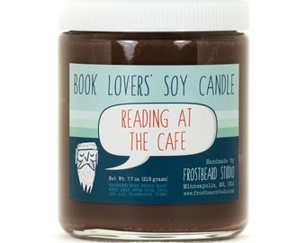 Reading at the Cafe - Book Candle -  Book Lover Gift - Scented Soy Candle - Frostbeard Studio - 8oz jar