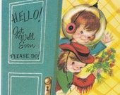 Paper Doll Vintage Card Get Well Soon For Children The Sunshine Line U.S.A. Unused