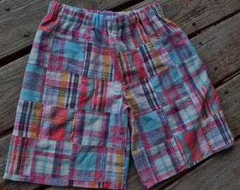 "BOYS ""Preppy Plaid"" collection   SHORTS only made to order in sizes 6-12-18-24 mth 2-3-4-5-6-7-8  boy/girl matching madras plaid"