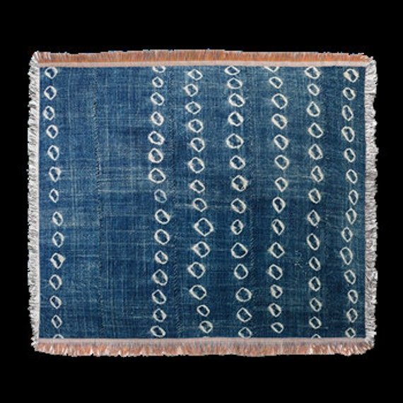 Indigo Blue Circles Batik Design Throw Or Tapestry