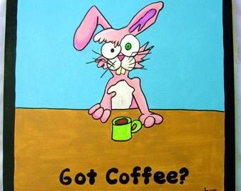 Got Coffee - 12x12 original acrylic art painting