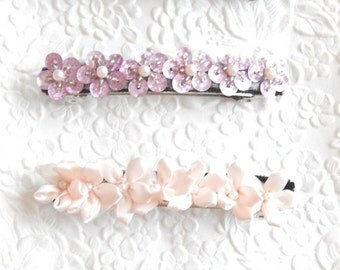 Pink beaded barrettes,  hair barrette, pink ponytail holder , pink hair accessory, pink beaded barrette, pink floral barrette,