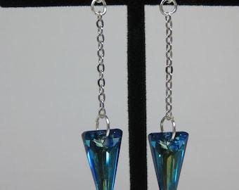 Bermuda Blue Swarovski Elements Spear Dangle Earrings
