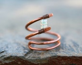 Opal Gemstone, Copper Wire Wrapped Handmade Ring, Ethiopian Opal Gemstone Ring, Copper and Opal Ring, Abstract Minimalist Ring