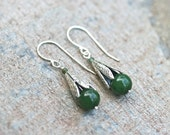 Jade Gemstone Sterling Silver Earrings, Jade Jewelry, Green Jade, MindyG Jewelry