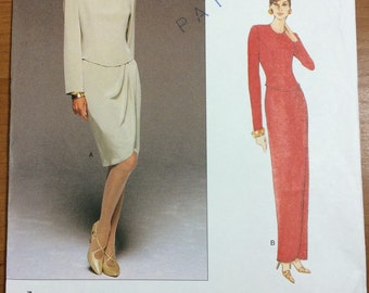 1996 Vogue 1708 Vogue American Designer Tom and Linda Platt Dress Sewing Pattern Sizes 12-14-16 UNCUT