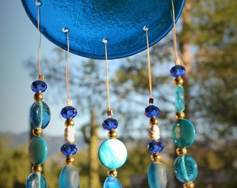 Windchime Octopus Ocean Blue with Starfish