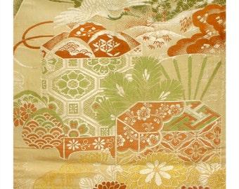 Crane and Kiku - Antique Japanese Silk Maru Obi Sash Formal Silk Women