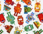 RESERVED FOR JonasCreationBoutique 3 yards uncut Babyville Robots Polyurethane Laminate ( PUL ) fabric