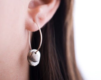 Silver River Rocks Hoops | Nature Inspired