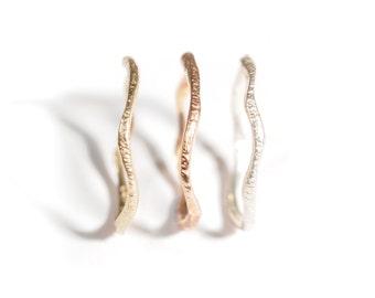 14k Rose Warrior Ring   14k Rose Gold Textured Ring