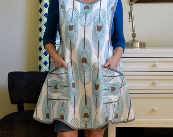 Pinafore Cross Back Apron - Vintage Style Apron - Fancy - Kitchen Apron - Retro Apron - Smock Apron in Feathers Spirit Slub & Gray Trim