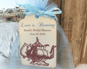 Tea Party Favor Set Organza Bags and Teapot Tags Set of 10 - Personalized Soft Blue