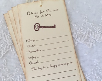 Guest Book Alternative Wedding Wish Tree Tags Key to Happy Marriage Set of 50