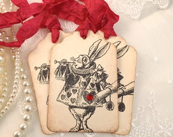 White Rabbit Tags Party Favor Tags Alice in Wonderland Tags Set of 10