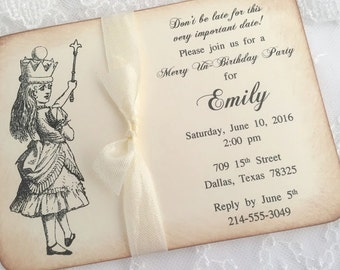 Alice in Wonderland Invitations Invites Set of 10 Baby Shower Birthday Bridal Shower Printed Invitations