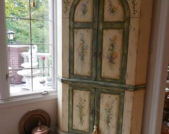 Gorgeous Habersham Hand Painted Corner Cupboard   REDUCED