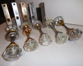 Five Pair Of Glass Door Knobs & 5 Locking Hardware
