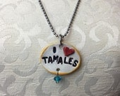 I Heart Tamales Ceramic Necklace