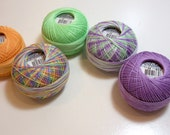 Tatting Thread, Lizbeth Size 10 Cotton Crochet Thread, Spring Collection, Lavender Purple, Orange, Green Thread