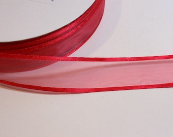 Red Ribbon, Offray Red Satin Edged Organza Ribbon 7/8 inch wide x 10 yards