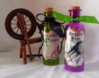 Dragon Fire and Spindle Poison potion bottles Maleficent sleeping beauty alchemy halloween