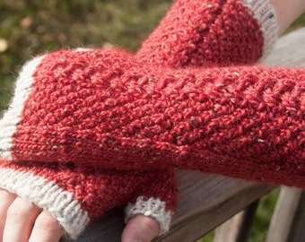 Granet and Cream Cabled Fingerless Gloves