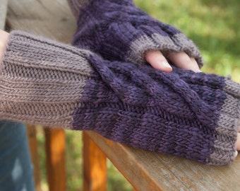 Purple and Grey Cross Over Fingerless Gloves