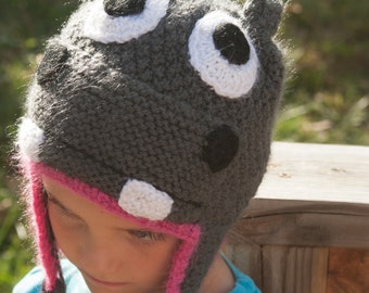 Hippo Hat in Grey and Pink for 2-4 year olds