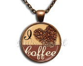 I Love Coffee - Round Glass Dome Pendant Necklace IMCreations - BF100