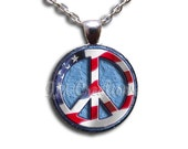 Peace Sign American Flag - Round Glass Dome Pendant Necklace by IMCreations - SM119
