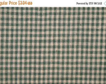 40% OFF SALE Cotton Homespun Fabric Green Small Check 19 x 44