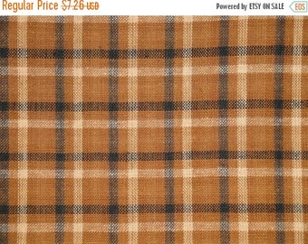 40% OFF SALE Homespun Material | Plaid Material | Cotton Material | Rag Quilt Material | Brown Black Natural Plaid Material | 33 x 44