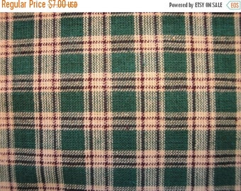 40% OFF SALE Homespun Fabric | Plaid Fabric | Green, Brown and Natural Plaid | End Of The Bolt  | 1 Yard