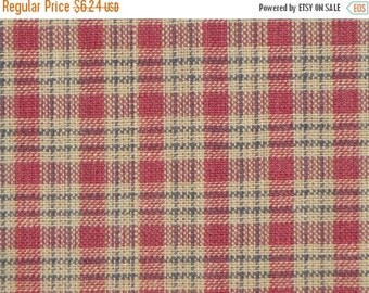 40% OFF SALE Homespun Material Country Cupboard Wine Mini Plaid  26 x 44