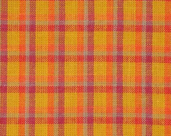 Cotton Homespun Material | Orange Plaid Material | Cotton Material | Quilt Material | Home Decor Material | Material Sold By The Yard