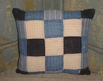 Old Quilt Pillow | Vintage Quilt Pillow | Antique Quilt Pillow | Primitive Pillow | 8.5 x 8.5 Pillow