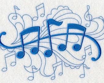 Music - Machine Embroidered Quilt Block - Doodle Design