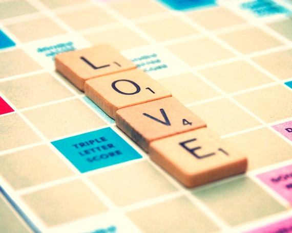 Scrabble tile photo, whimsical art print, bff, love, scrabble tiles, I love you, valentine, letters, crossword puzzle, love letter, birthday