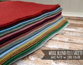 Wool Felt Sheets - You Choose Size 60 - 9x12 or 30 - 12x18