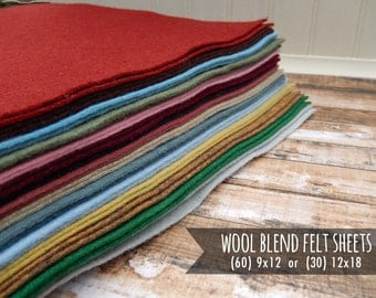 Wool Felt Sheets - You Choose Size 60 - 9x12 or 30 - 12x18 - New Colors for 2017
