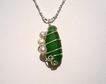 Sea Glass Necklace -Green Seaglass with Freshwater Pearls -Beach Glass Jewelry